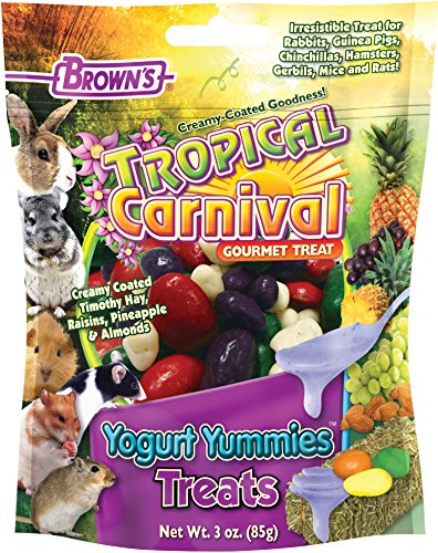 61fVSNzMzqL - F.M. Brown's Tropical Carnival Yogurt Yummies Treat with Fruit and High Fiber Timothy Hay for Rabbits, Guinea Pigs, Chinchillas, Hamsters, Gerbils, Mice and Rats, 3oz