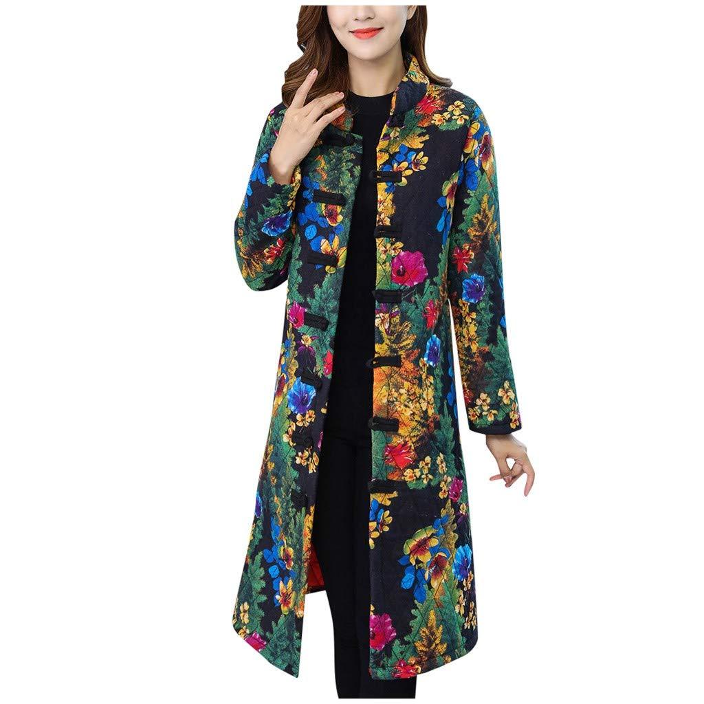 Sunnywill Veste d'hiver De Mode Ethnique Imprimé Floral à Manches Longues Long Manteau d'hiver Chaud Manteau Slim Fit Outwear