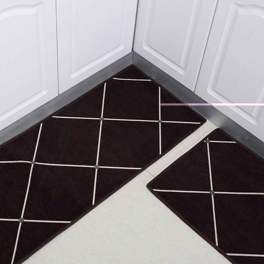 WENZHE 敷物 キッチンカーペットマット キッチンカーペットマット敷物バスルーム ドアマット 吸水 滑り止め 洗濯機、 厚い7ミリメートル、 3色、 7サイズ ( 色 : Purple-brown , サイズ さいず : 50*80+50*160cm ) 50*80+50*160cm Purple-brown B078RM93C5