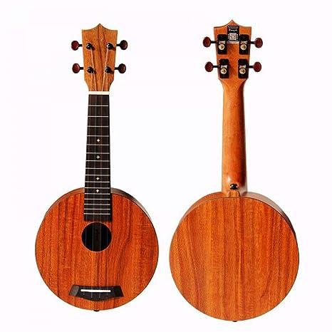 NING-MENG 21 pulgadas de forma circular Hpl Koa Ukulele Hawaii Mini guitarra