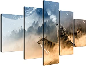 Yatsen Bridge Extra Large Canvas Painting for Living room Wall Art Prints Wolf Paintings Pictures Artwork for Living room Office Bedroom Wall Decorations Stretched and Framed (70''W x 40''H)