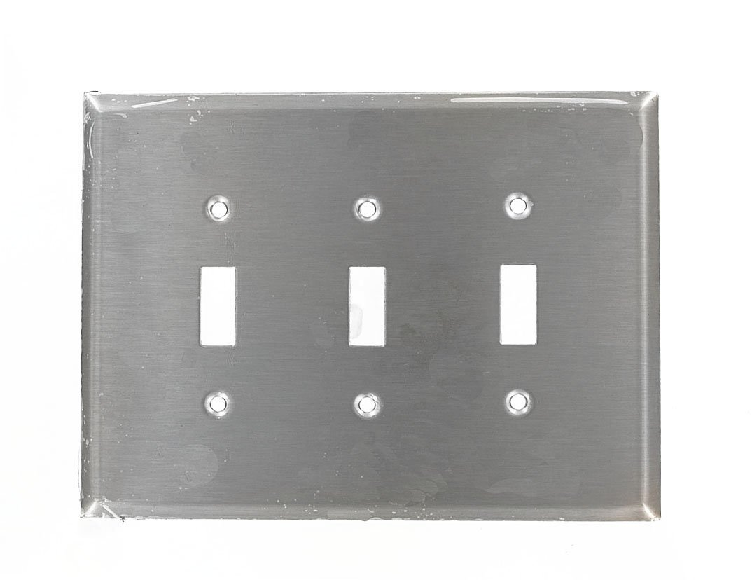 Leviton 84111-40 3-Gang Toggle Device Switch Wallplate, Oversized, 302 Stainless Steel, Device Mount, Stainless Steel