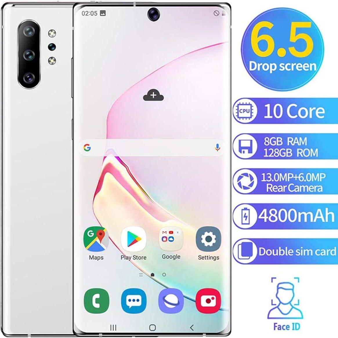 XGLL Teléfono Móvil 6.5 Pulgadas FHD 10 Core 8GB RAM + 128GB ROM Android 9.1 4800Mah Batería Dual SIM Moviles Libres Indestructibles Smartphone,Blanco