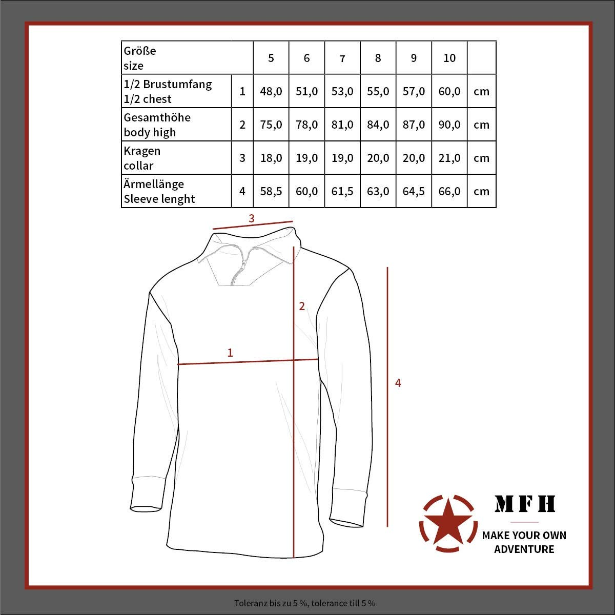 Oliv//5 MFH BW Rollkragenhemd mit Rei/ßverschluss