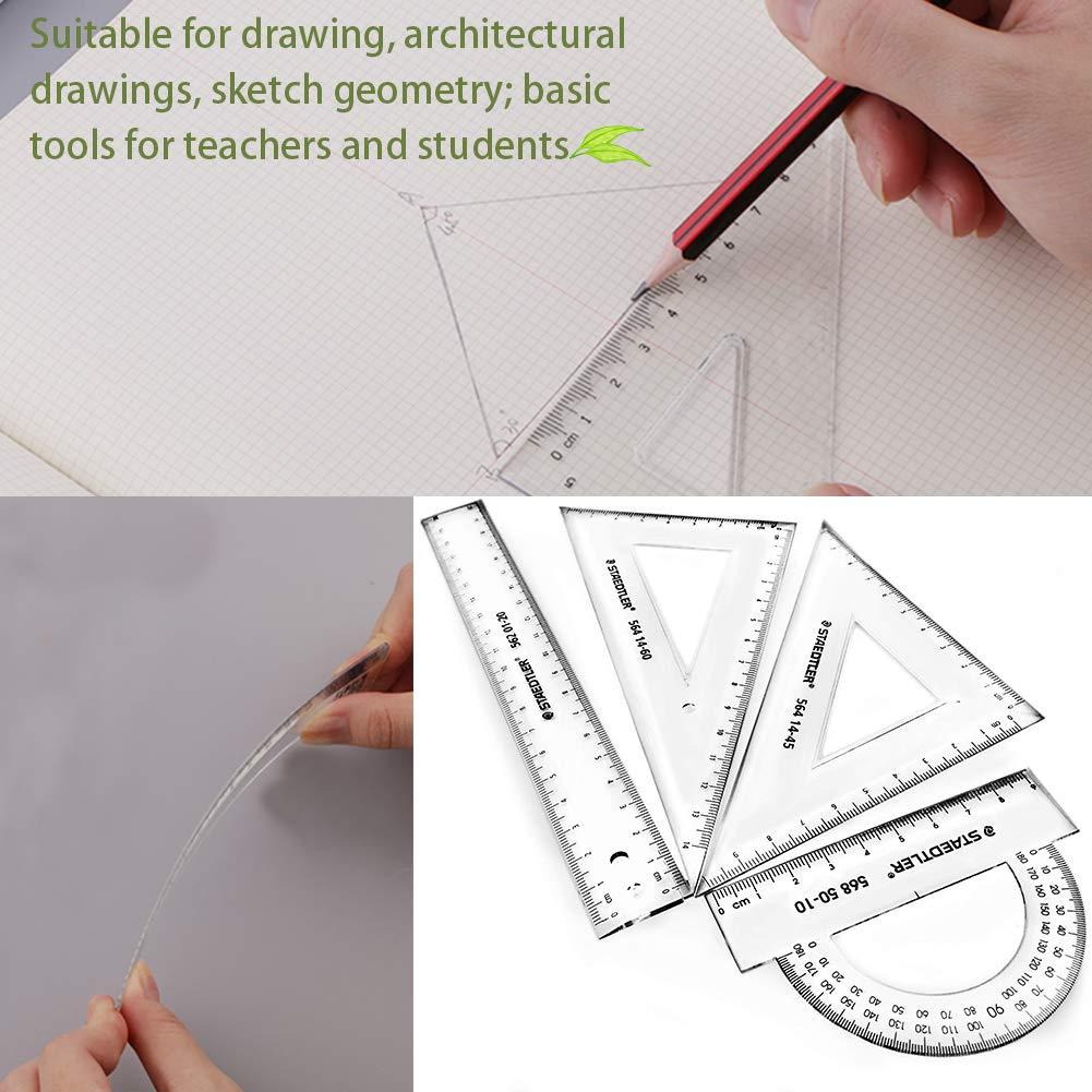 8 Pedazos Set de Matem/áticas Geometr/ía de Estudiantes INTVN Comp/ás de Dibujo,Comp/ás de Dibujo Transportadores Regla y Tri/ángulo