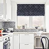 Quick Fix Washable Roman Window Shades Flat Fold, Custom any width from 14'' to 71'', Geometric Color Pattern (custom, Dreamy)