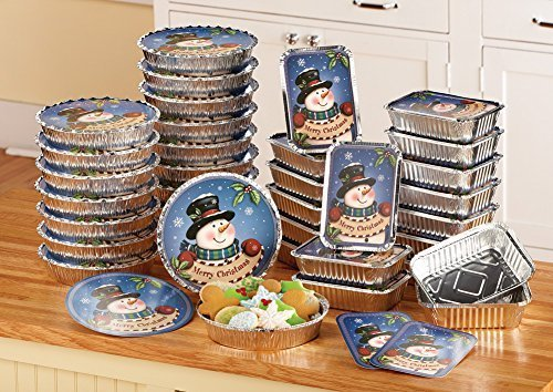 (Collections Etc. Foil Snowman Christmas Treat Tins with Rectangular and Round Holiday Containers, Set of 36 )