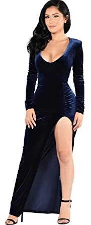 0c7d73e0f9f Long Sleeve Deep V Neck Shirred Ruched Asymmetrical Side Split Slit Velvet  Long Maxi Bodycon Column