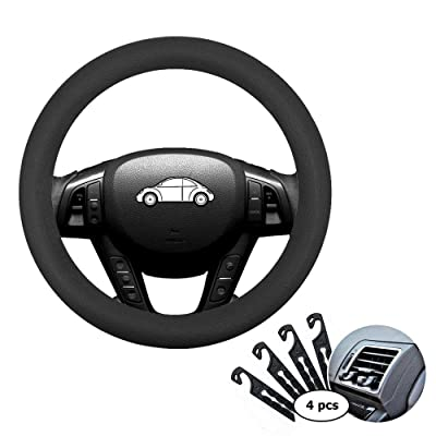 "Direct Black Silicone Auto Car Steering Wheel Cover 13"" -15"", with 4 pcs Air Vent Hook: Automotive"