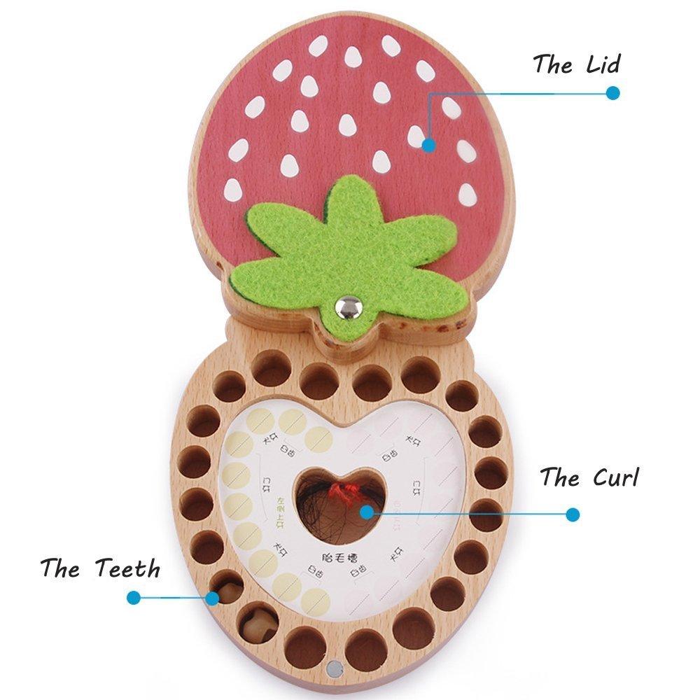 LAAT Baby Laubz/ähne K/ästen Erdbeermuster Milch zahn Aufbewahrungsbox Baby Andenken Box Box Baby Geschenk f/ür Neugeborene Kinder zur Aufbewahrung von Babyz/ähnen und Haaren.