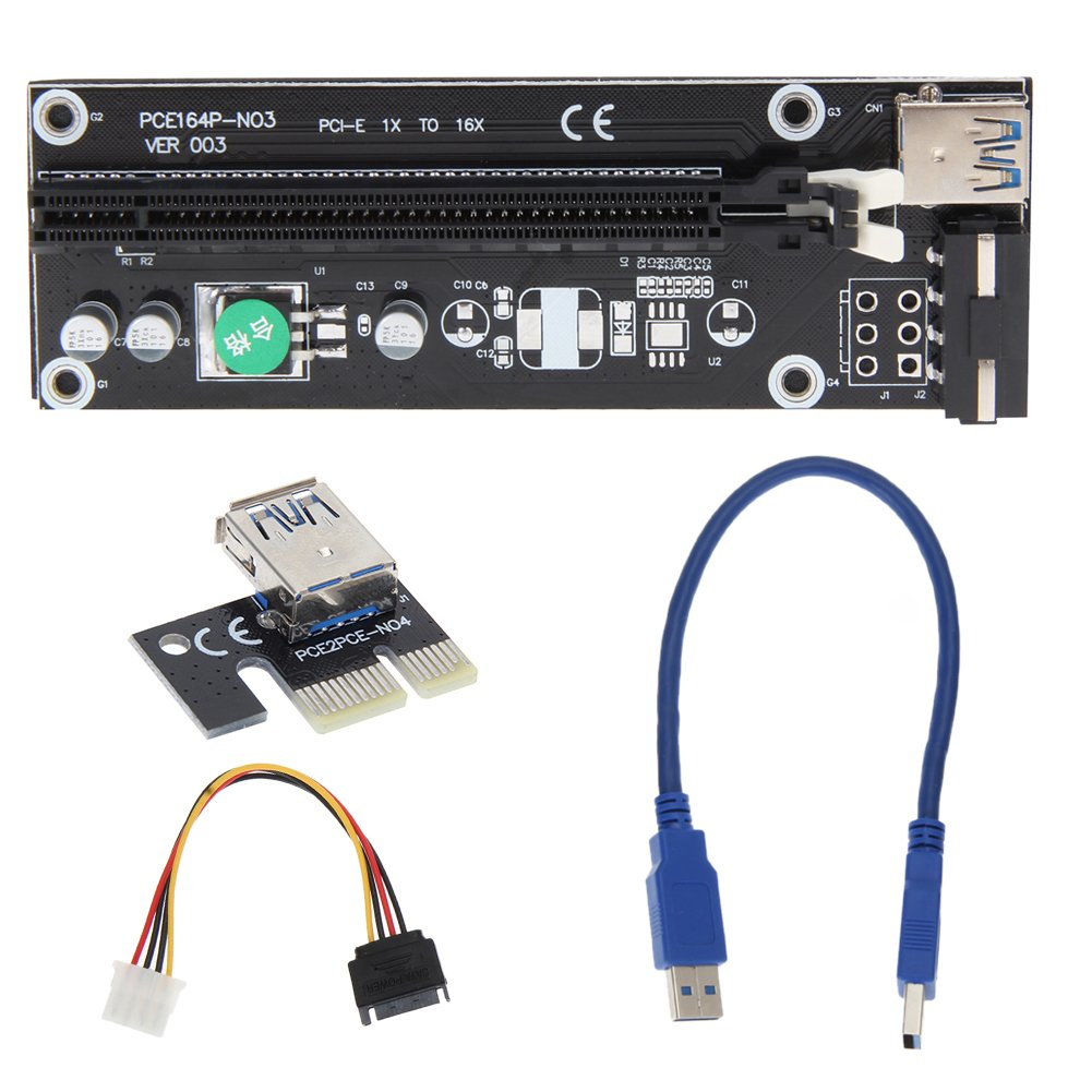 PCI-E 1X to 16X Express Mining Extender Riser Card Adapter with 30cm USB 3.0 Power Cable