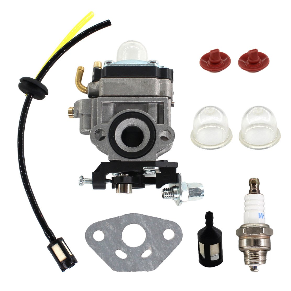USPEEDA Carburetor for Jiffy 142FV Engine Feldmann Ice Fishing Auger Drill 4381 Fuel Line Spark Plug Check Valve Primer Bulb Carb Gasket