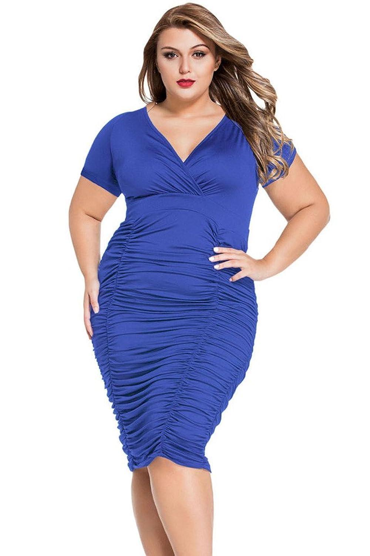 Tiksawon Women Sexy Plus Size V Neck Ruched Bodycon Party Midi Dress