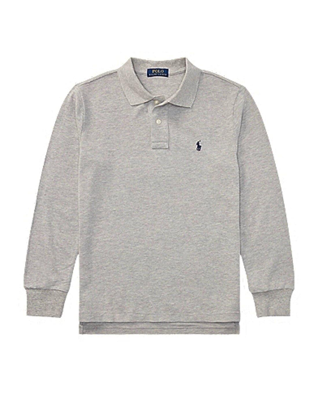 RALPH LAUREN Boys Cotton Mesh Long-Sleeve Polo Size L 14-16