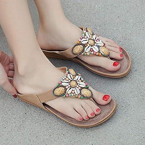 LGK&FA Strand Hausschuhe Hausschuhe Meer Mit Flachem Boden Hausschuhe Zuziehen Füße Flip Flops. Vierzig - Ein Apricot Farbe R2joHu8m
