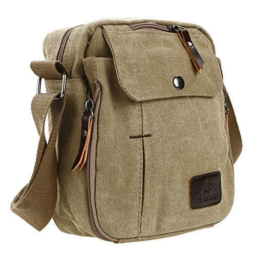 Handbag Messenger Multi function brown Small Men Bags Khaki Canvas Shoulder Leisure Business Domybest qIvdx44