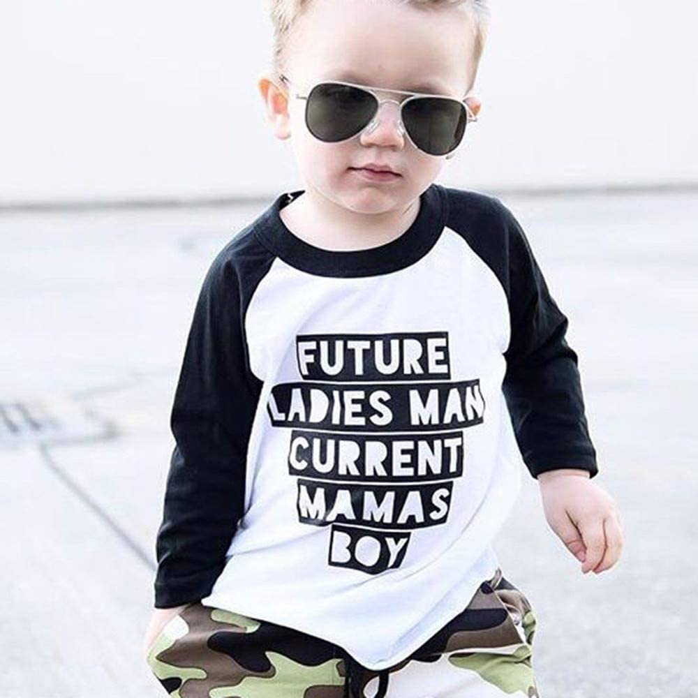 Memela Baby Clothes,Baby Boys Clothes 2PCS Outfit Set Long Sleeve LetterTops Camouflage Pants