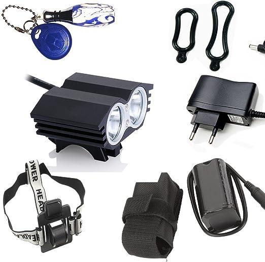 LED Luz Blanco Camping,Linterna LáMPARA para bicicletas bici CREE XM-L U2 - Luz LED frontal para manillar de bicicleta (2 focos, 5000 Lumens, 4 modos) con Llavero Linterna: Amazon.es: Iluminación