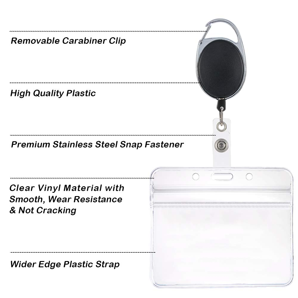 5 Pieces Each Set of 15 Retractable Badge Holder Reel Clips with Horizontal /& Vertical ID Card Holders SourceTon 5 Pack Retractable Card Clips with Horizontal /& Vertical ID Card Holders
