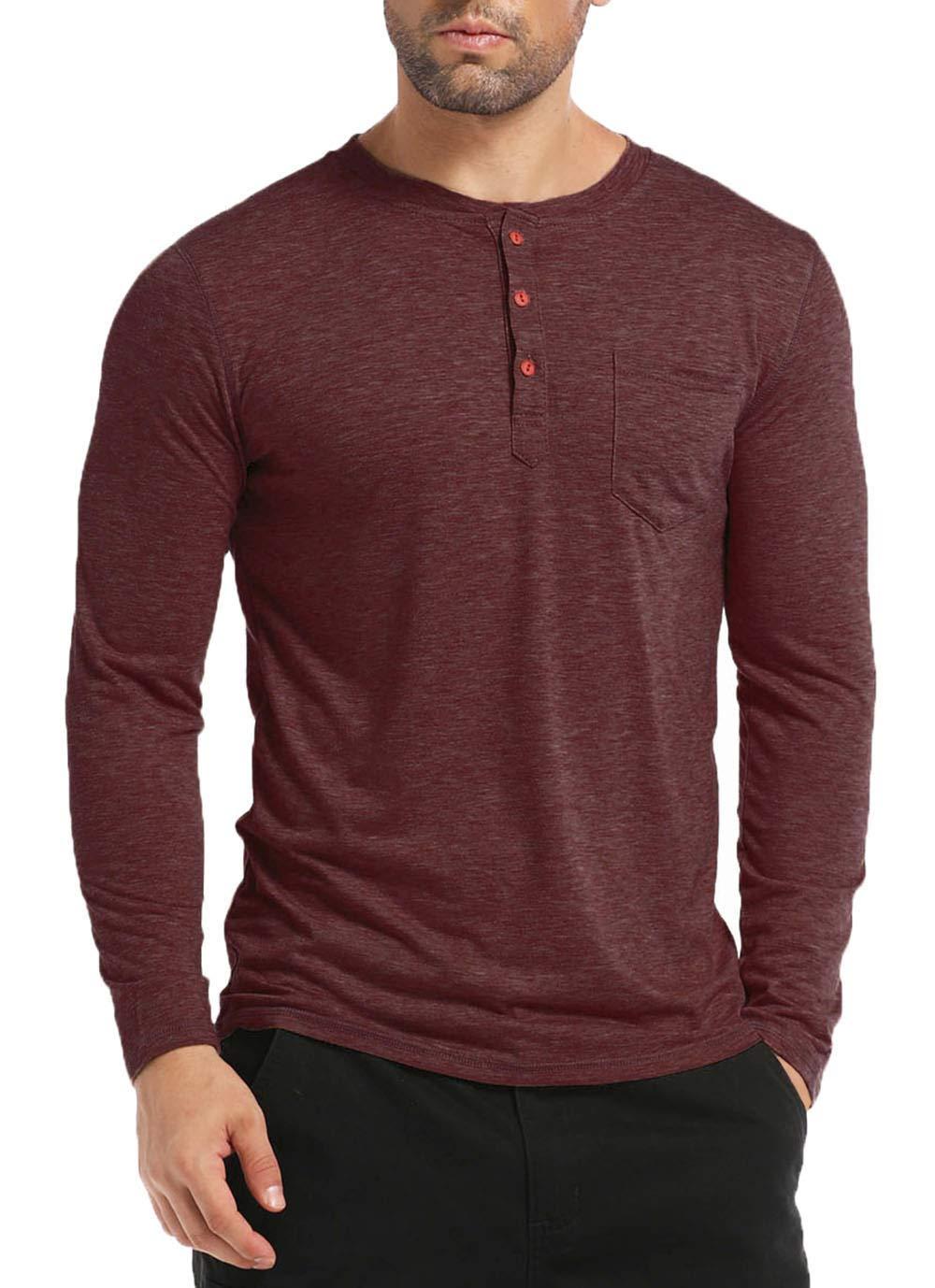 BABEIYXM Men's Henley Long Sleeve Shirts Soild Tee Shirts Front Pocket Tops Basic T-Shirts,WineRed,L