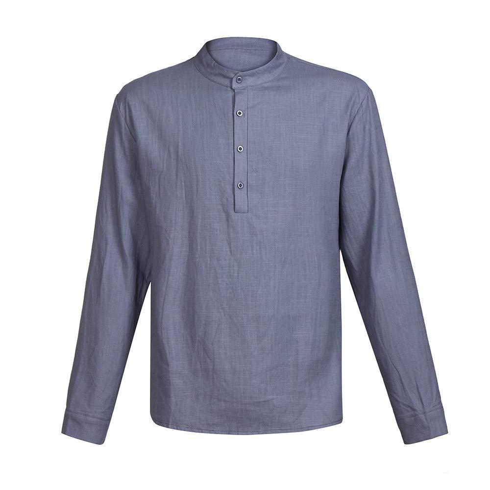 SFE Mens Fashion Shirts,Men Linen Long Sleeve V Neck Bluetton Up Shirts Male Casual Bluesiness Fit Blouse