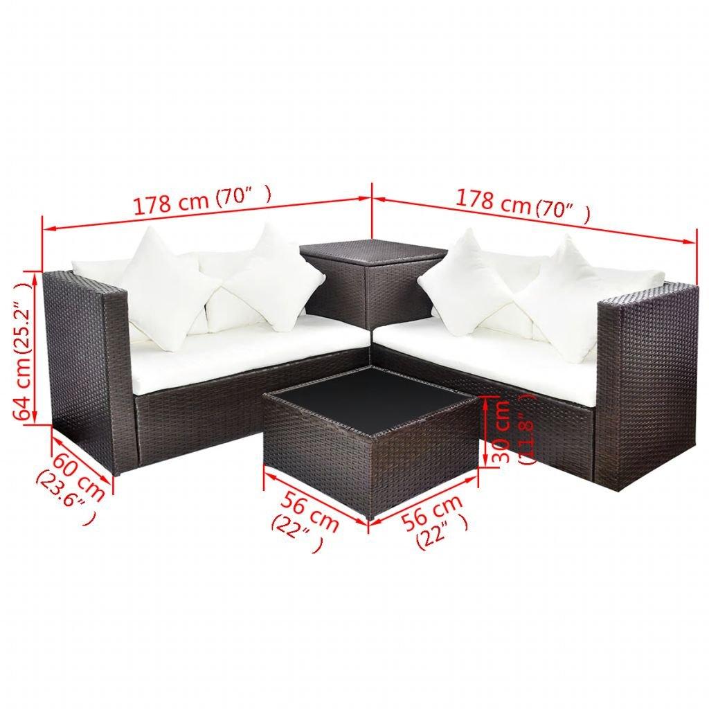 vidaXL Set Muebles de Jardín Ratán Sintético Marrón 14 ...