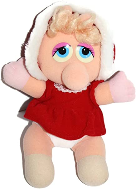 Jim Hensons Muppet Babies Miss Piggy Dressed in Red Christmas Dress Outfit 12 Inch Tall Plush Doll Jim Henson/'s Muppet Babies Miss Piggy Inc Inc Henson Associates 1987 Simon Marketing