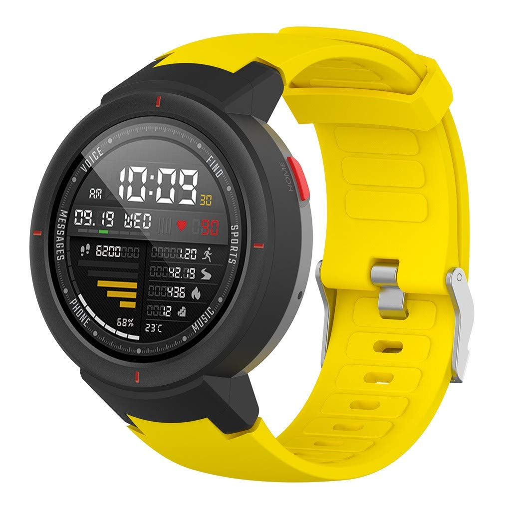Sweatproof Replacement Sports Silicone Watch Band Bracelet Strap for Xiaomi Huami Amazfit Verge (Yellow)