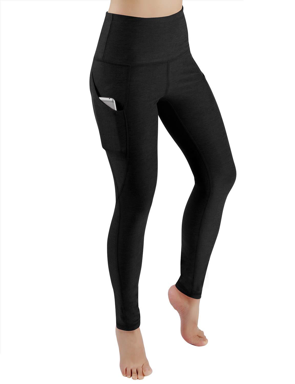 ODODOS High Waist Out Pocket Yoga Pants Tummy Control Workout Running 4 Way Stretch Yoga Leggings,Black,Medium by ODODOS (Image #2)