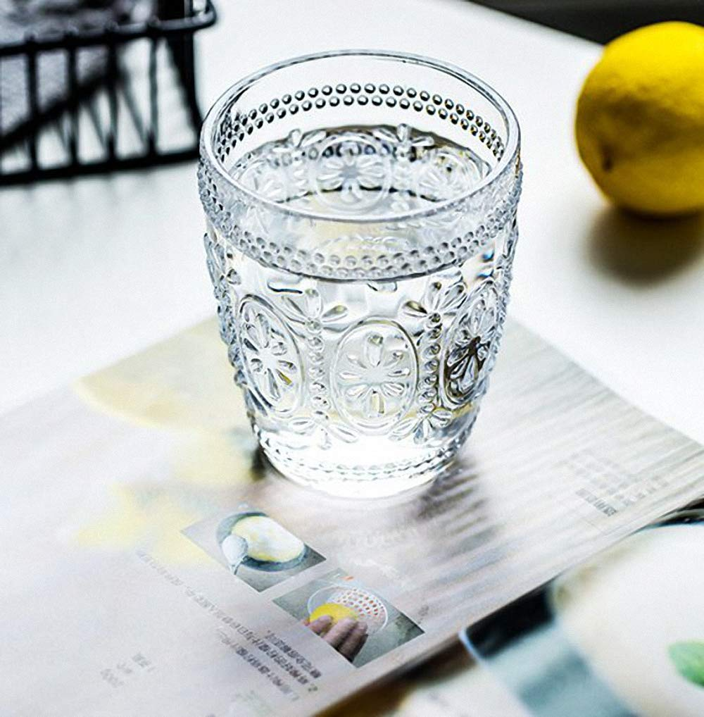 Chic Vintage Style Creative Embossment Muticolor Milk Glasses Cup Clear Glass Lemon Juice Cups Ice Cream Drinking Highball Glasses Beer Wine Whiskey Water Tumblers Cola Mug Cup