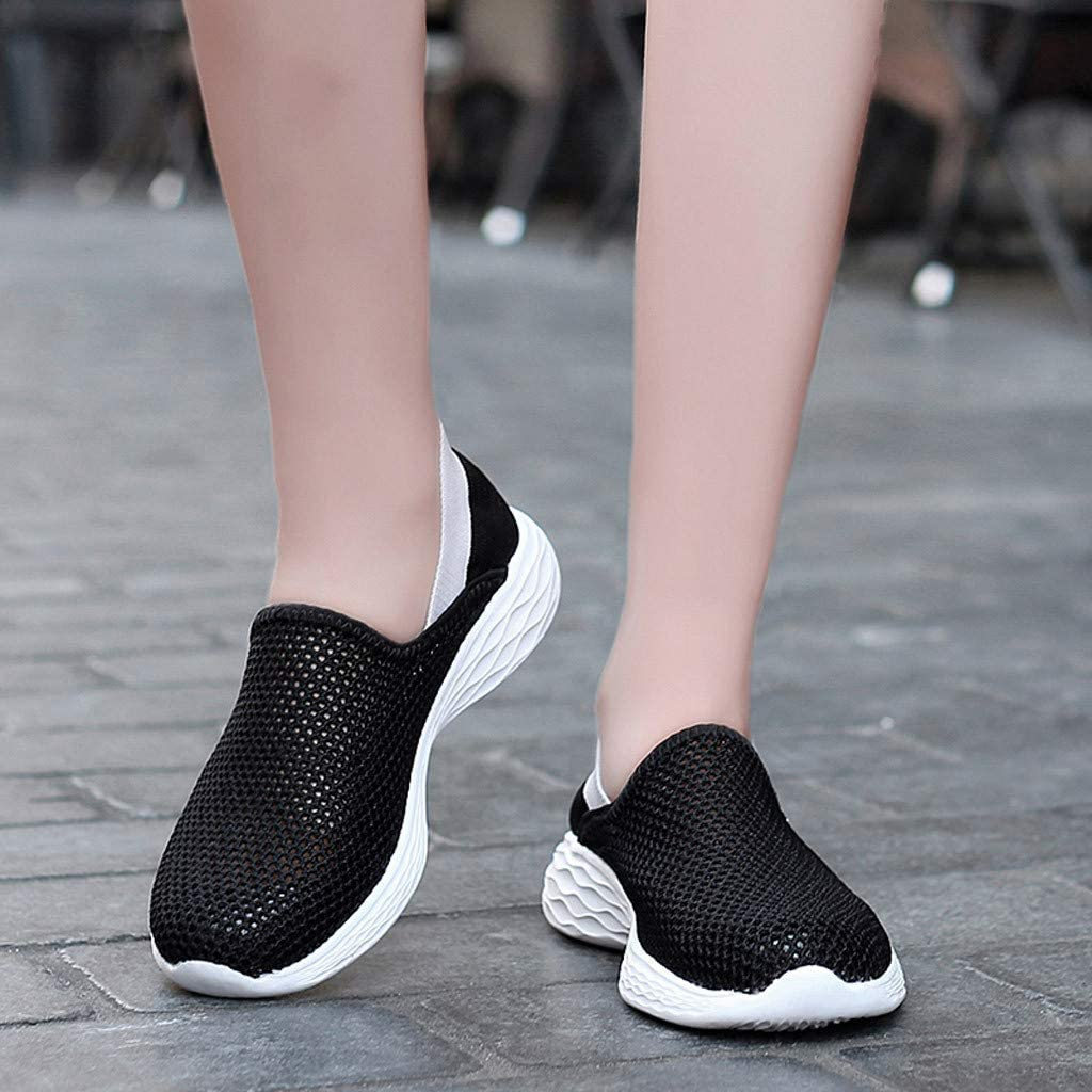 Danhjin Womens Shoes Flying Woven Casual Shoes Candy Color Student Running Shoes