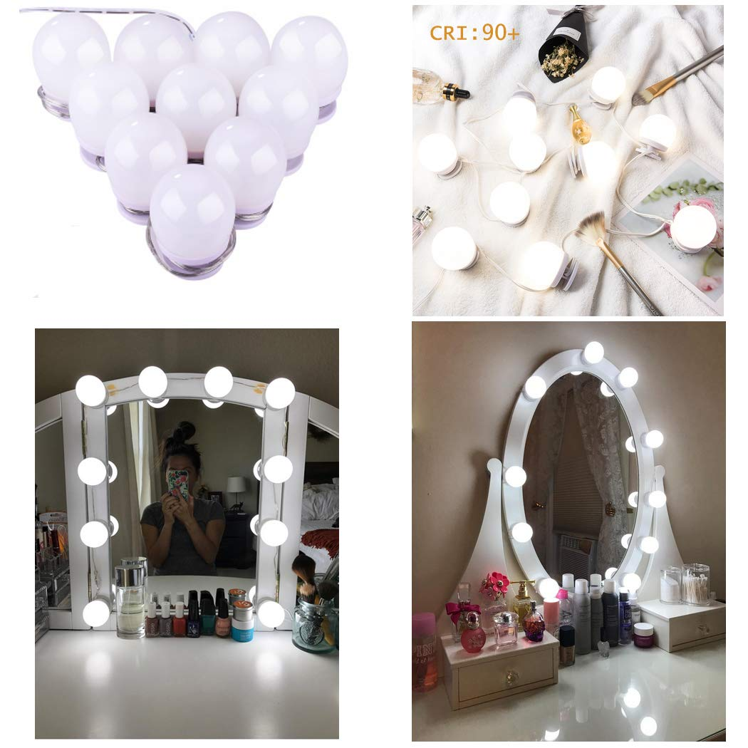 Upgraded Hollywood Style LED Vanity Mirror Lights Kit, 10 Dimmable Makeup Light Bulbs, Mirror Lighting Strip Fixture for Vanity Dressing Table Set,Bathroom mirror,CRI>90 (4000K Natural White,10 Bulbs)
