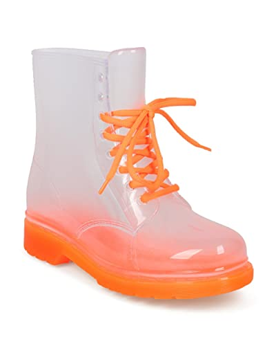 Women Clear Lace Up Lug Sole Combat Rain Boot - HF91 by Red Ruby Collection