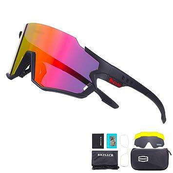 BRZSACR Gafas de Sol Deportivas,CrazyFire UV 400 Protección Gafas Deportivas Polarizadas con 3 Set De Lentes Intercambiables para Hombre Mujer.