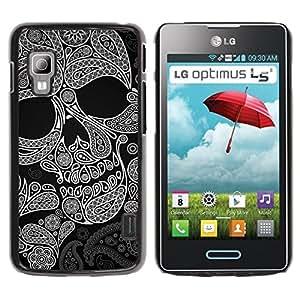 Caucho caso de Shell duro de la cubierta de accesorios de protección BY RAYDREAMMM - LG Optimus L5 II Dual E455 E460 - Skull Pattern Ink Death Tattoo Rock Metal