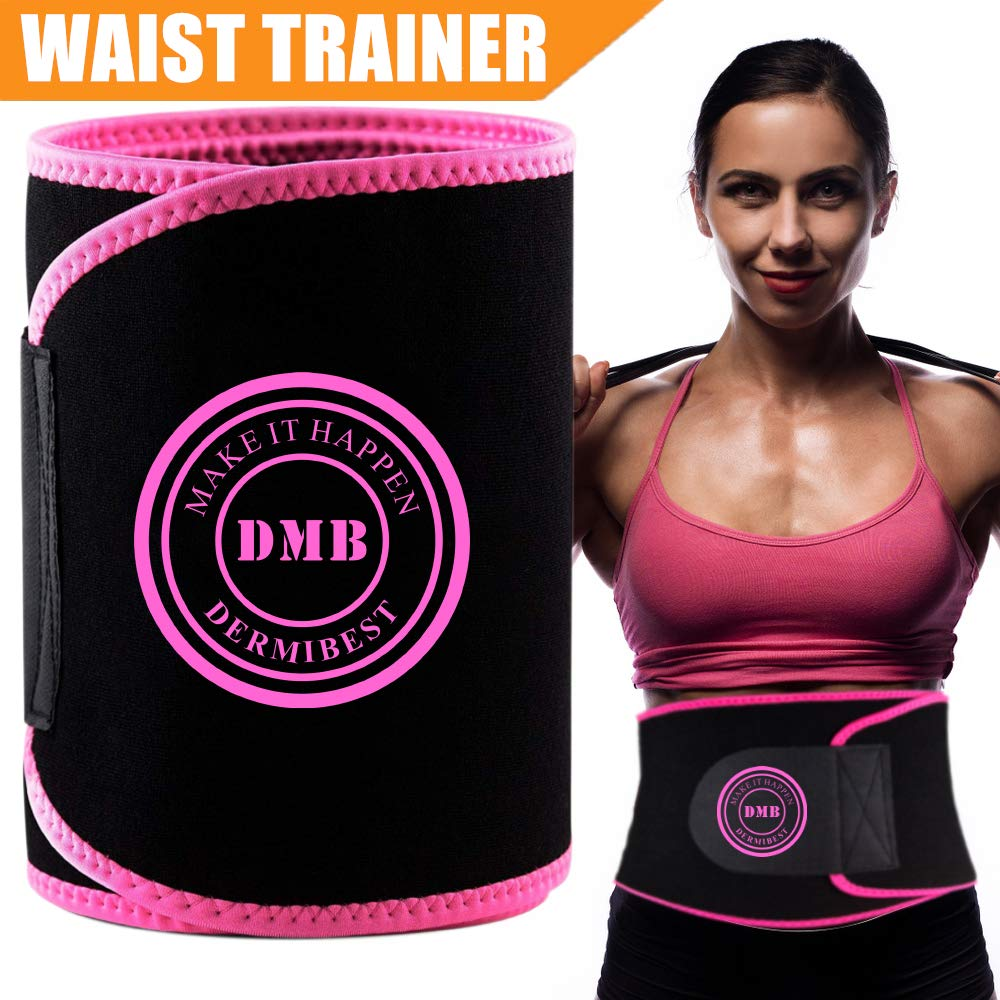 DERMIBEST Waist Trainer for Weight Loss Slimmer Kit Ab Belt-Sweat Waist Trimmer for Women&Men Stomach Fat Burner Wrap- Best Abdominal Trainer Low Back and Lumbar Support with Sauna Suit Effect