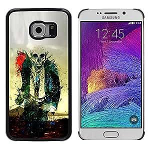 Be Good Phone Accessory // Dura Cáscara cubierta Protectora Caso Carcasa Funda de Protección para Samsung Galaxy S6 EDGE SM-G925 // Zombie Skull Skeleton