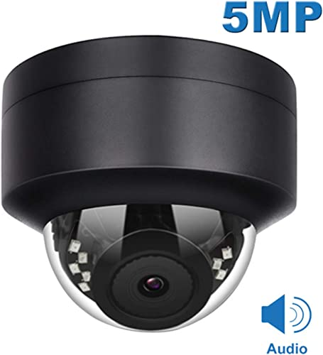 Anpviz 5MP PoE IP Dome Camera with Microphone Compatible Hikvision ,Audio, IP Security Camera Outdoor Night Vision 98ft Weatherproof IP66 Indoor Outdoor ONVIF Compaliant Wide Angle 2.8mm IPC-D250B-S