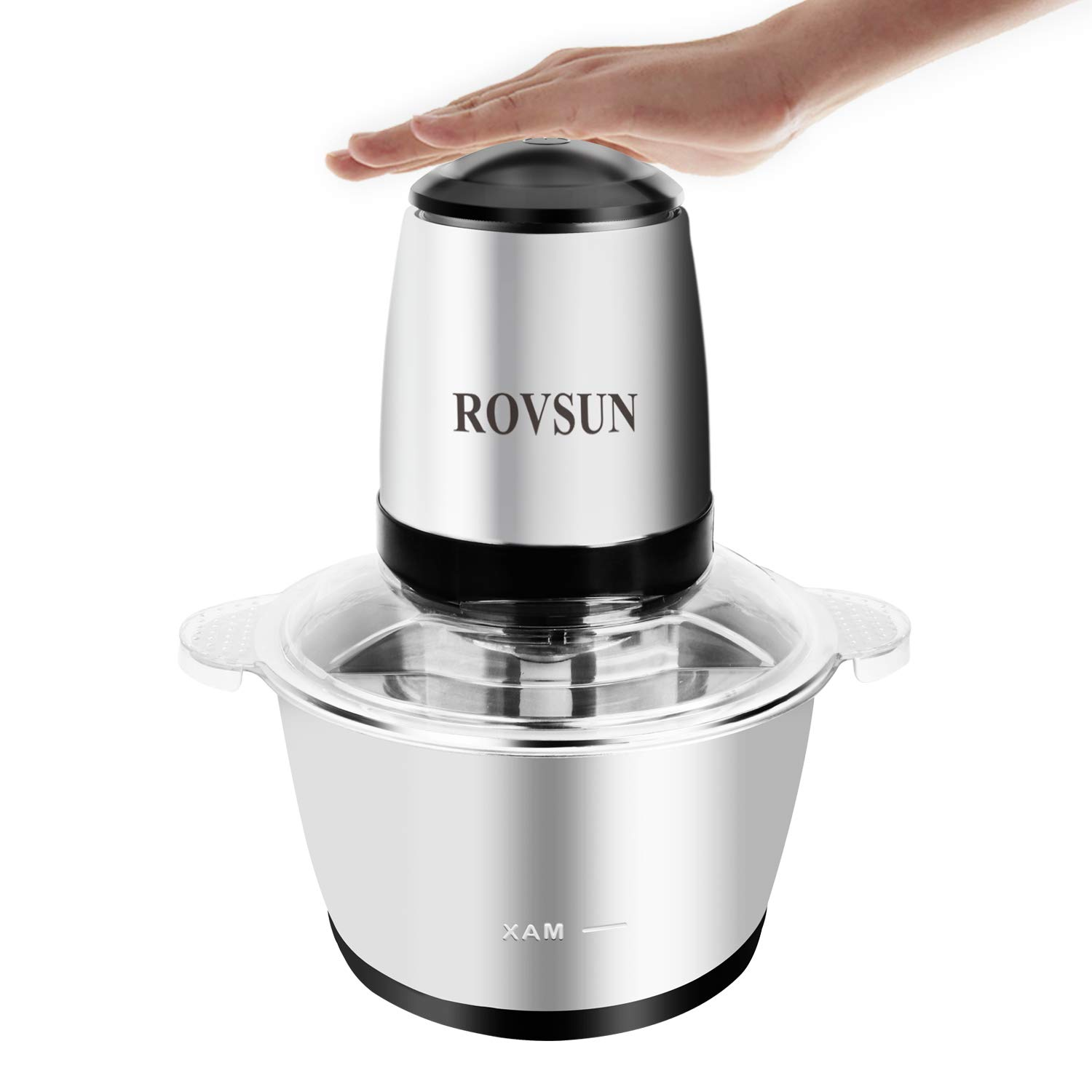 ROVSUN 8 Cup Food Processor Electric Mini Chopper 2L Stainless Steel Bowl, One Touch Multipurpose Kitchen Onion Fruit Vegetable Mincer,300W Blender Slicer Dicer with 4 Blades (Silver)
