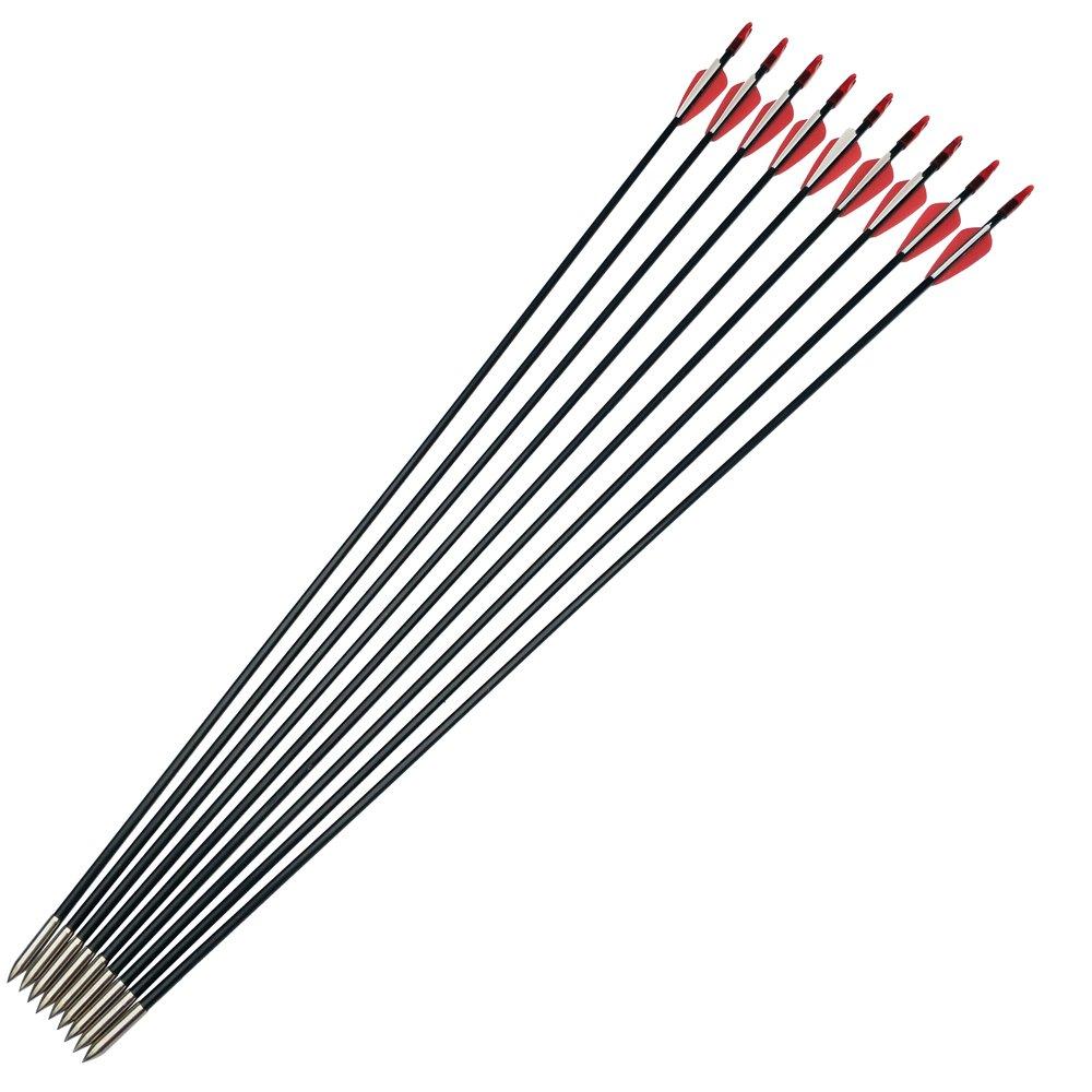 SHARROW 12pcs Flechas de Fibra de Vidrio 31 Pulgadas Spine 900 para Arco Recurvo Pr/áctica