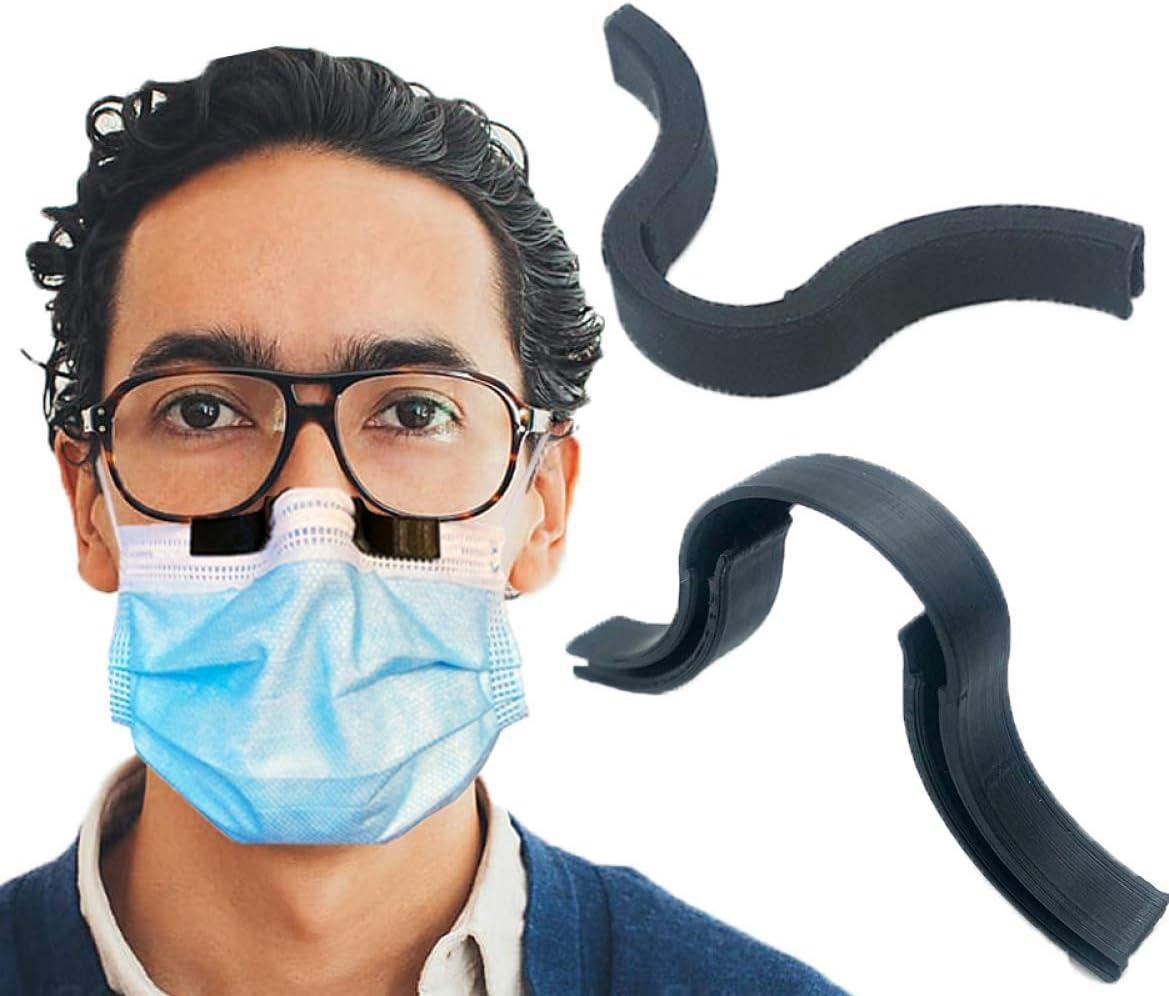 Clip de nariz antivaho para máscara – Evita que las gafas se empañen y se vapore – Respiración más suave – Mayor comodidad de la cara – Reciclable – Tira de puente de nariz (negro)