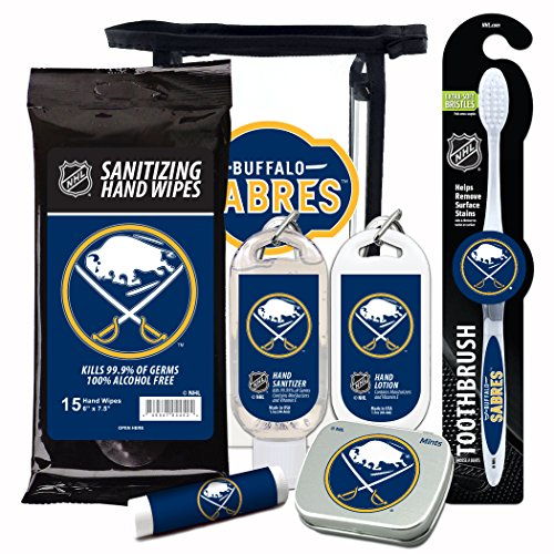 (NHL Buffalo Sabres 6-Piece Fan Kit with Decorative Mint Tin, Toothbrush, Hand Sanitizer, SPF 15 Lip Balm, Hand Lotion, Sanitizer Wipes. NHL Hockey Gifts for Men and Women)