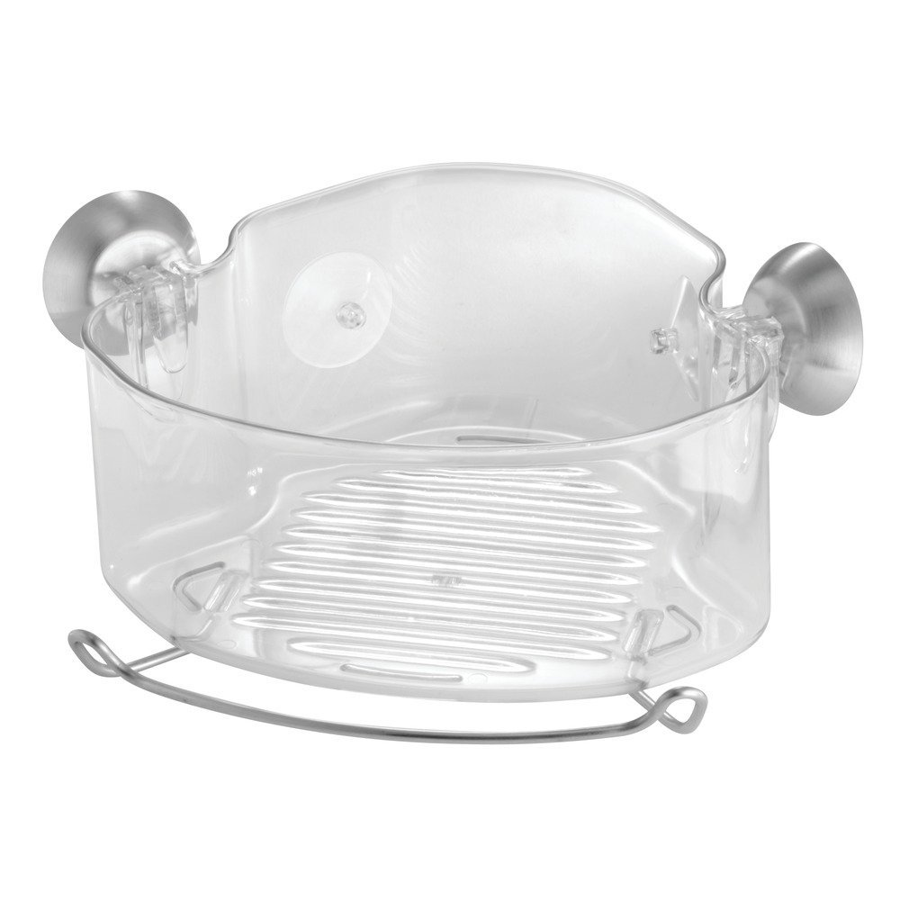 InterDesign Forma Power Lock, Suction Bathroom Shower Caddy Corner Basket for Shampoo, Conditioner, Soap - Clear 79820