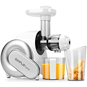 SimpleTaste Slow Masticating Juicer Extractor for Fresh, High Nutrient and Healthy Fruit and Vegetable Juice, Quiet Motor, Reverse Function, High Juice Yield, Easy Operation and Clean