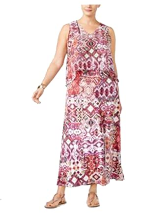 NY Collection Petite Plus Size Printed Layered Maxi Dress (1XP) at ...