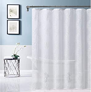 Dainty Home Isabella Embroidered Shower Curtain, White