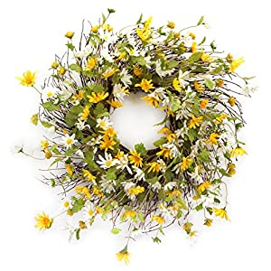 Melrose International Yellow and White Daisy Wreath, 24-Inch 91