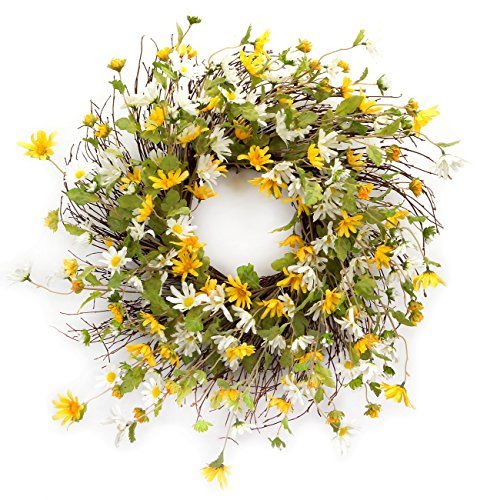 (Melrose International Yellow and White Daisy Wreath, 24-Inch)