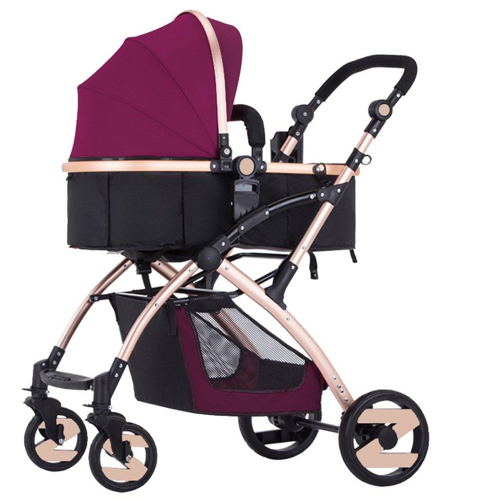 赤ちゃんのベビーカーはリクライニングショックに座ることができます二方向軽量折り畳みベビーベビーカー(青)(紫)(赤) ( Color : Purple ) B07BT4ZZK5