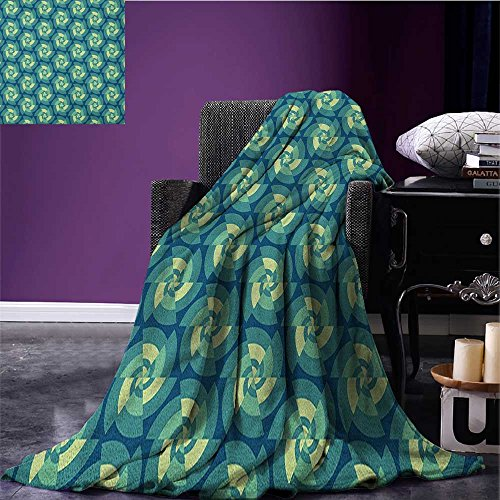 Abstract travel blanket Ethnic Fractal Triangles Circular Shapes Retro Style Geometrical Tile Flannel blanket Blue Teal Pale Green size:59
